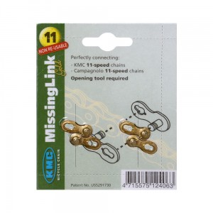 KMS Missing Link Gold - spinki do łańcucha 11 rzędowego Shimano, Campagnolo i KMC